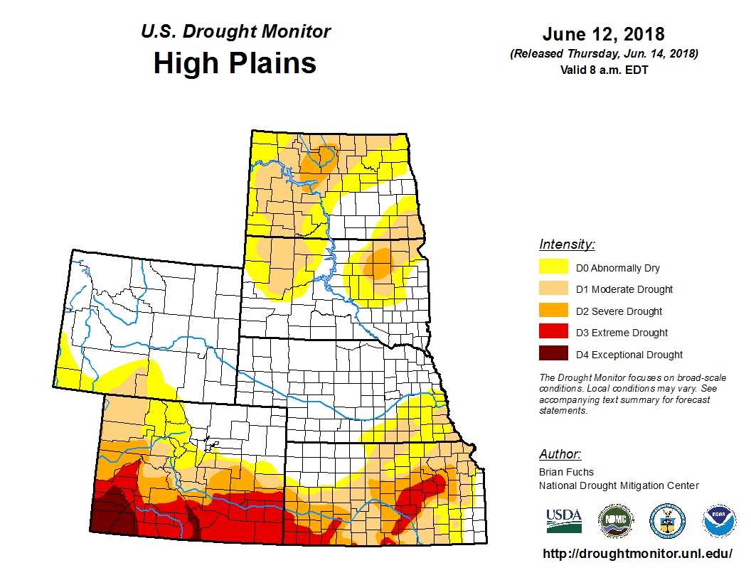 A drought map of North Dakota, South Dakota, Wyoming, Nebraska, Colorado and Kansas.